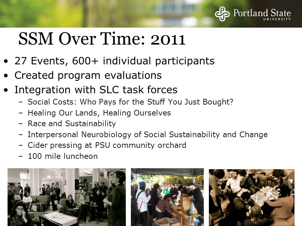 SSM Over Time: 2011 27 Events, 600+ individual participants Created program evaluations Integration with SLC task forces –Social Costs: Who Pays for the Stuff You Just Bought.