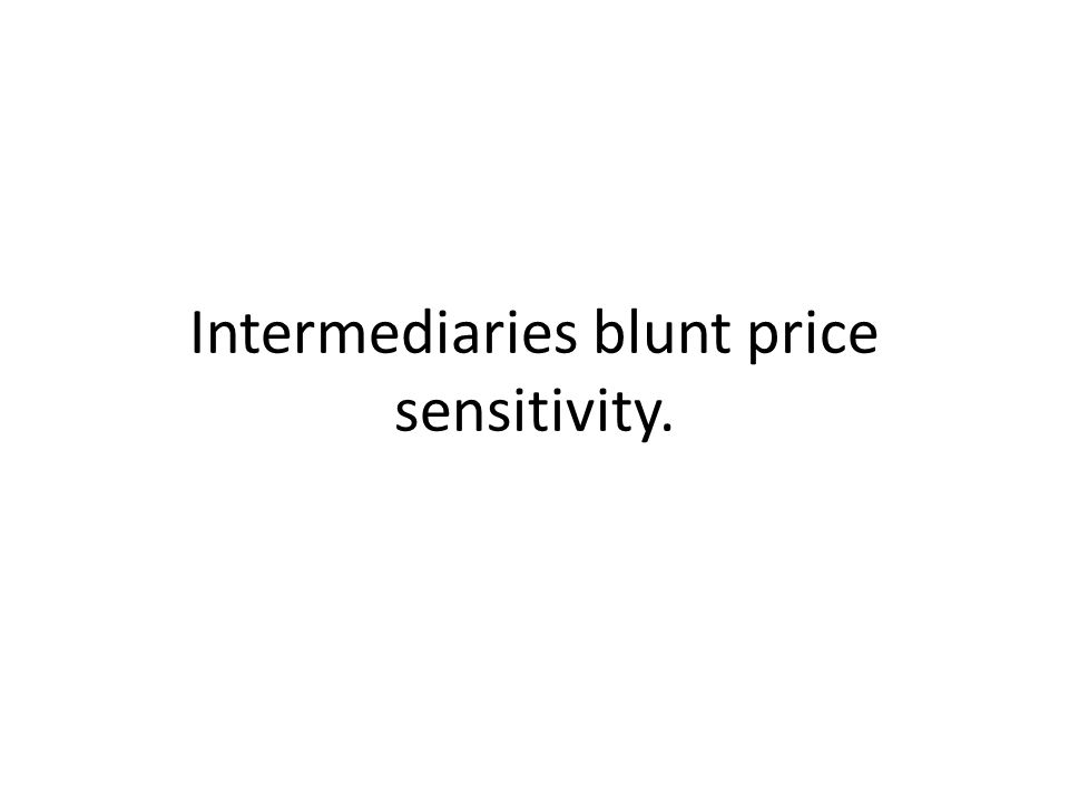 Intermediaries blunt price sensitivity.