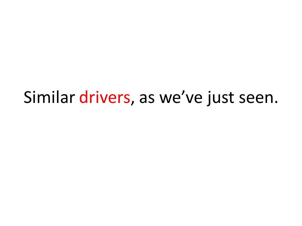 Similar drivers, as we've just seen.