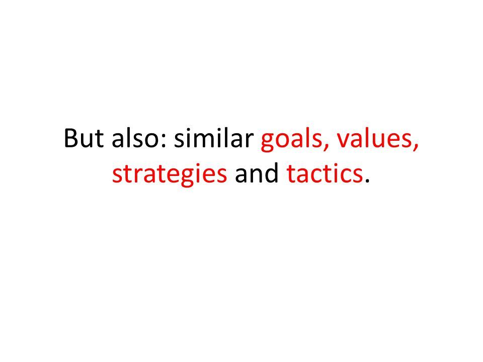 But also: similar goals, values, strategies and tactics.