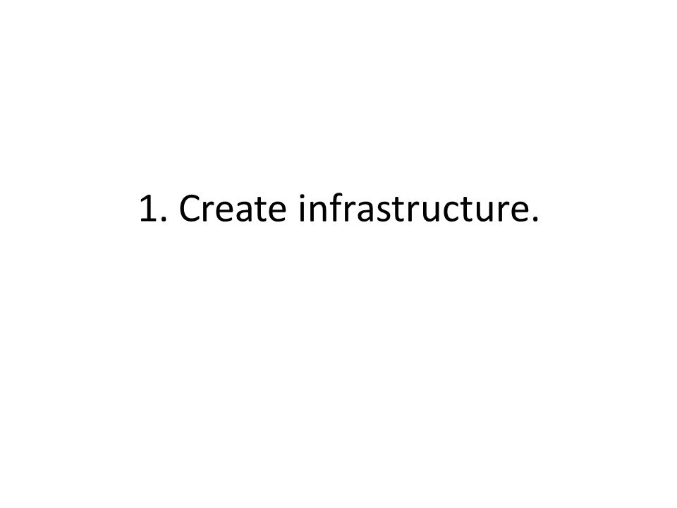 1. Create infrastructure.