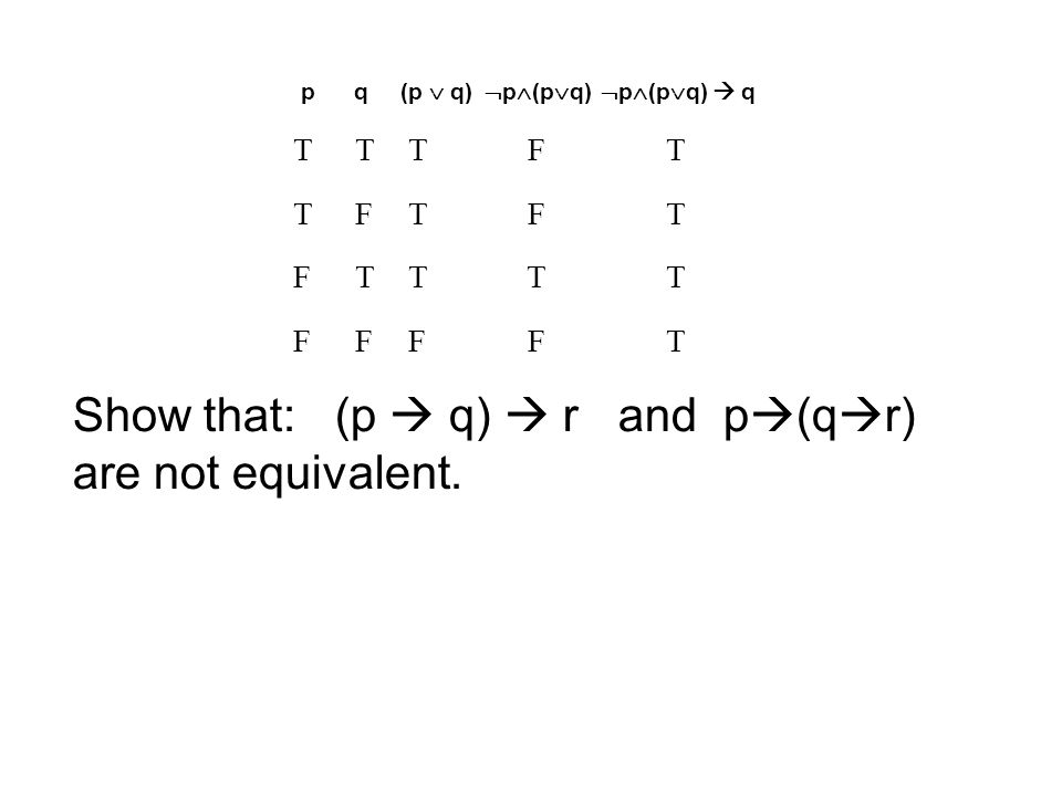 p q(p  q)  p  (p  q)  p  (p  q)  q TTTFT TFTFT FTTTT FFFFT Show that: (p  q)  r and p  (q  r) are not equivalent.