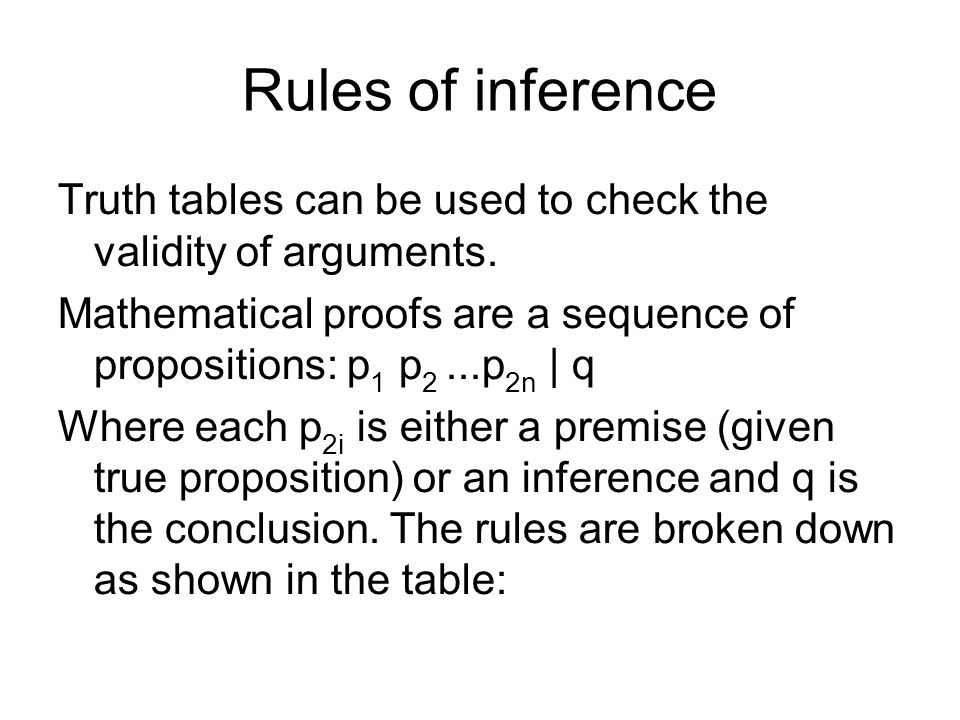 Rules of inference Truth tables can be used to check the validity of arguments.