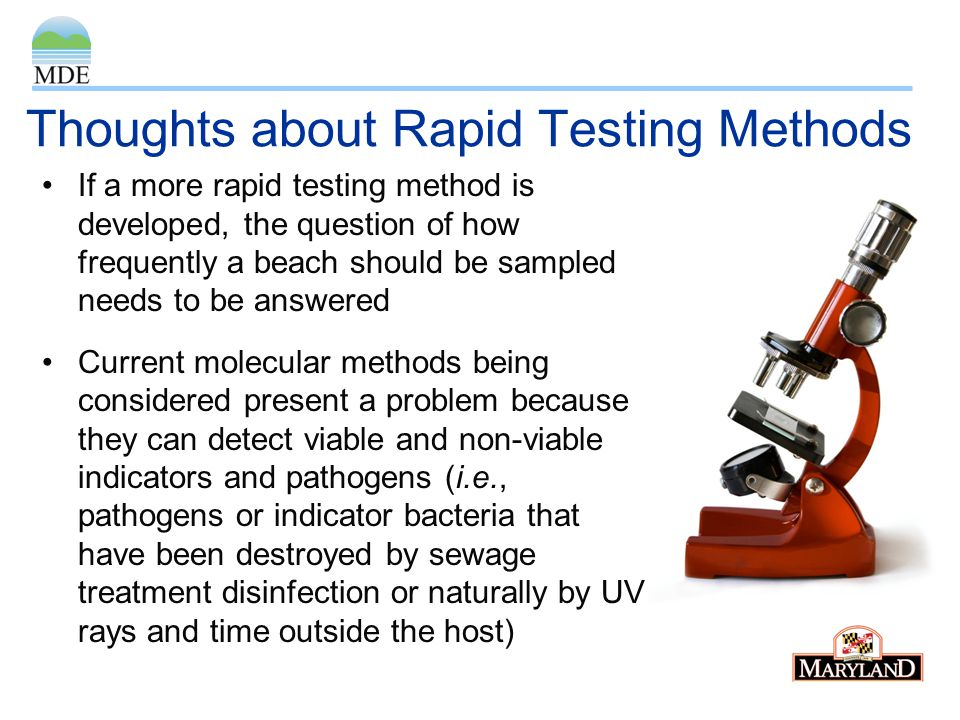 Thoughts about Rapid Testing Methods If a more rapid testing method is developed, the question of how frequently a beach should be sampled needs to be answered Current molecular methods being considered present a problem because they can detect viable and non-viable indicators and pathogens (i.e., pathogens or indicator bacteria that have been destroyed by sewage treatment disinfection or naturally by UV rays and time outside the host)