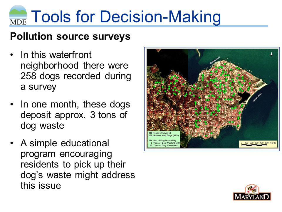 Tools for Decision-Making During sanitary survey, field personnel found raw sewage from broken sewage pipe in community near beach.