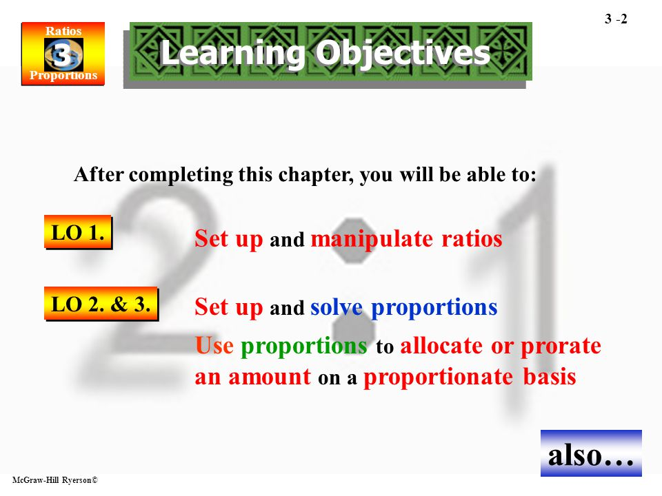 Ratios Proportions Ratios Proportions 3 3 McGraw-Hill Ryerson© 3 -2 Set up and manipulate ratios After completing this chapter, you will be able to: S