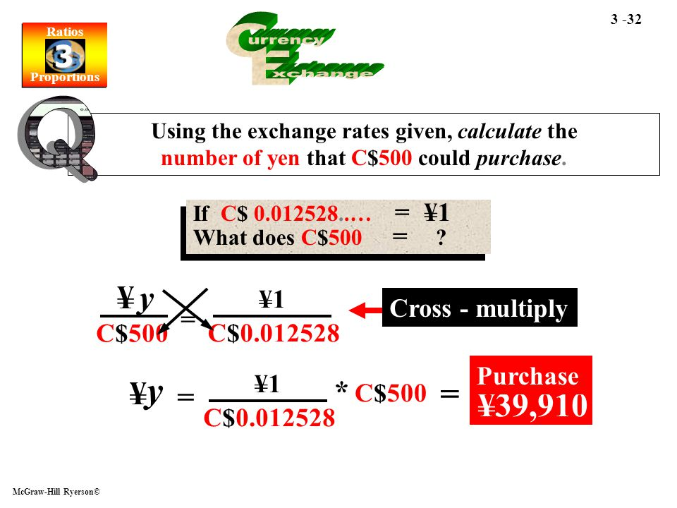Ratios Proportions Ratios Proportions 3 3 McGraw-Hill Ryerson© 3 -32 Using the exchange rates given, calculate the number of yen that C$500 could purc