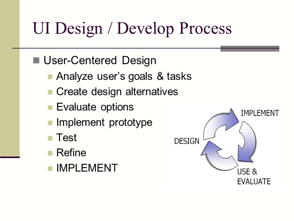 UI Design / Develop Process User-Centered Design Analyze user's goals & tasks Create design alternatives Evaluate options Implement prototype Test Refine IMPLEMENT