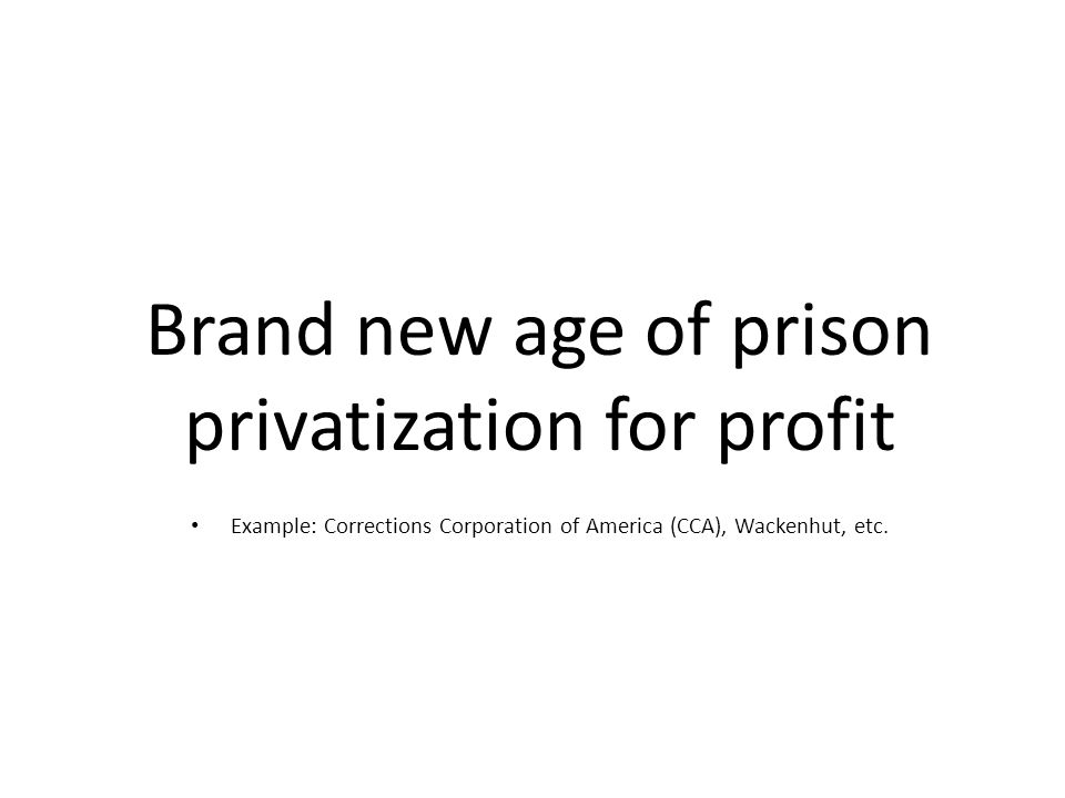 Brand new age of prison privatization for profit Example: Corrections Corporation of America (CCA), Wackenhut, etc.