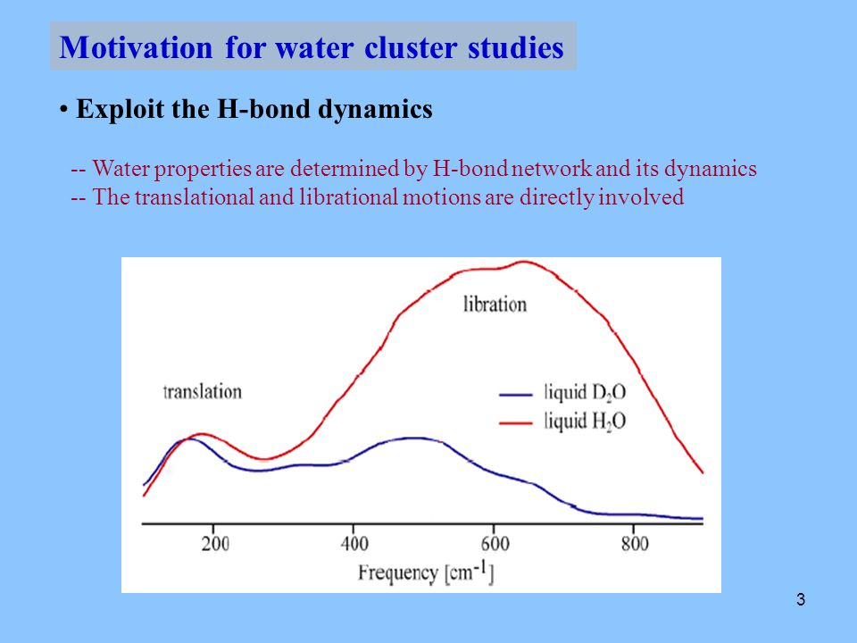 4 Determine the Intermolecular Potential Surface (IPS) -- Provide extensive experimental data to determine the IPS -- Test the water models Motivation for water cluster studies Studies have indicated the hydrogen binding energy of liquid water: two body interaction accounts for 75% three body … 20 % all higher … 5%