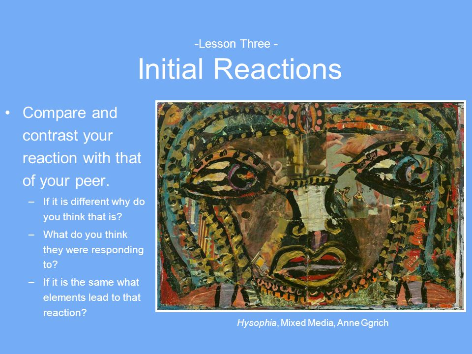 -Lesson Three - Initial Reactions Compare and contrast your reaction with that of your peer. –If it is different why do you think that is? –What do yo