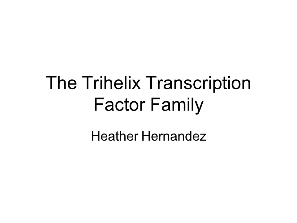 The Trihelix Transcription Factor Family Heather Hernandez