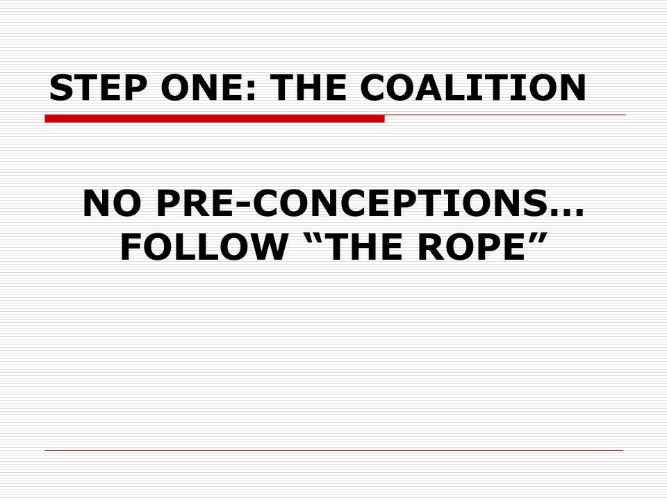 """NO PRE-CONCEPTIONS… FOLLOW """"THE ROPE"""" STEP ONE: THE COALITION"""