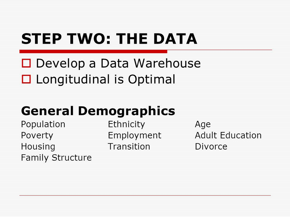 STEP TWO: THE DATA  Develop a Data Warehouse  Longitudinal is Optimal General Demographics PopulationEthnicityAge PovertyEmploymentAdult Education H