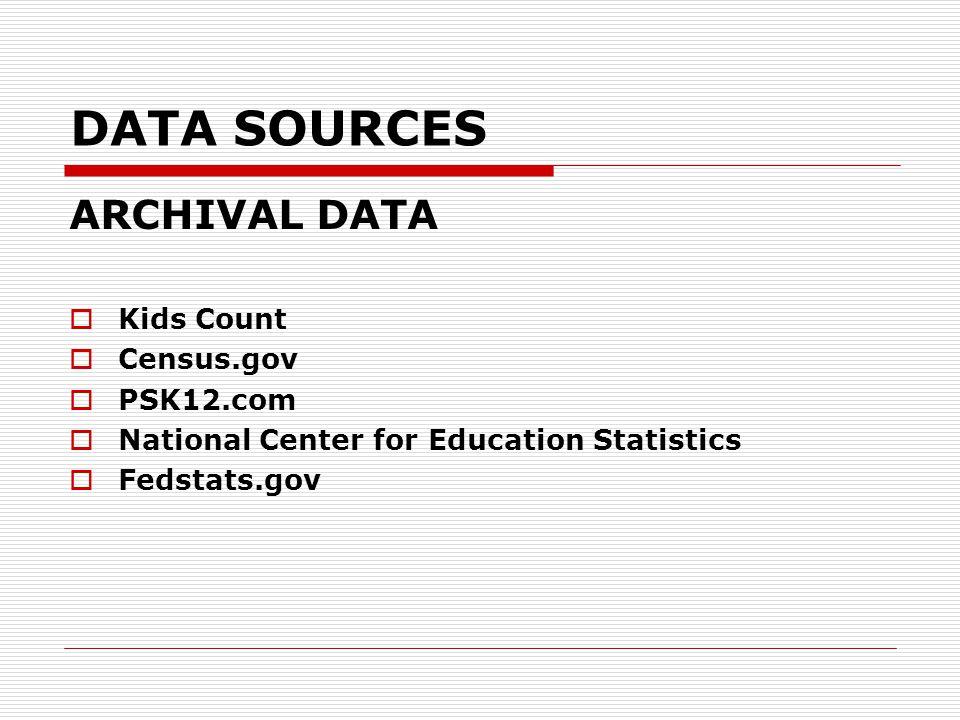 DATA SOURCES ARCHIVAL DATA  Kids Count  Census.gov  PSK12.com  National Center for Education Statistics  Fedstats.gov