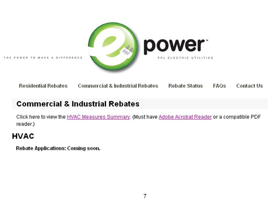 8 E power rebate form Need slide showing rebates, application forms