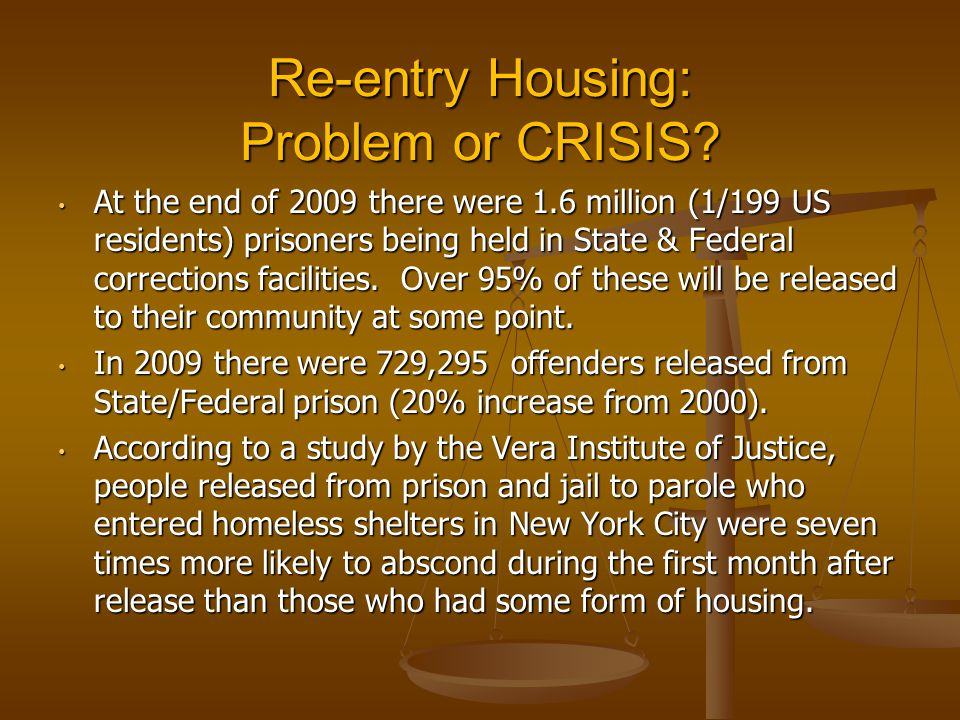 Re-entry Housing: Problem or CRISIS.