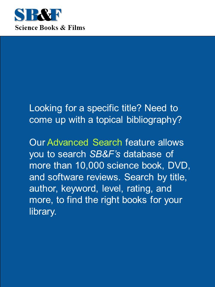 Science Books & Films Looking for a specific title.