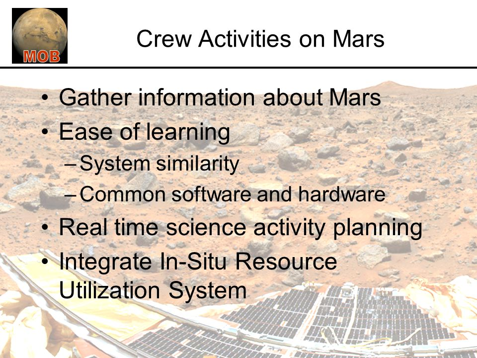Mission Architecture Systems Engineering and Integration Structures Command, Control, and Communications (CCC) Power Environment Control and Life Support Mission Operations and Human Factors Robotics and Automation EVA and Planetary Surface Vehicle Interfaces Thermal ISRU and Mars Environment