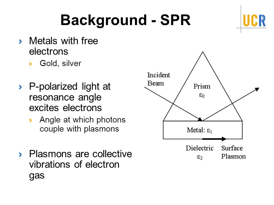 Background - SPR Metals with free electrons Gold, silver P-polarized light at resonance angle excites electrons Angle at which photons couple with plasmons Plasmons are collective vibrations of electron gas