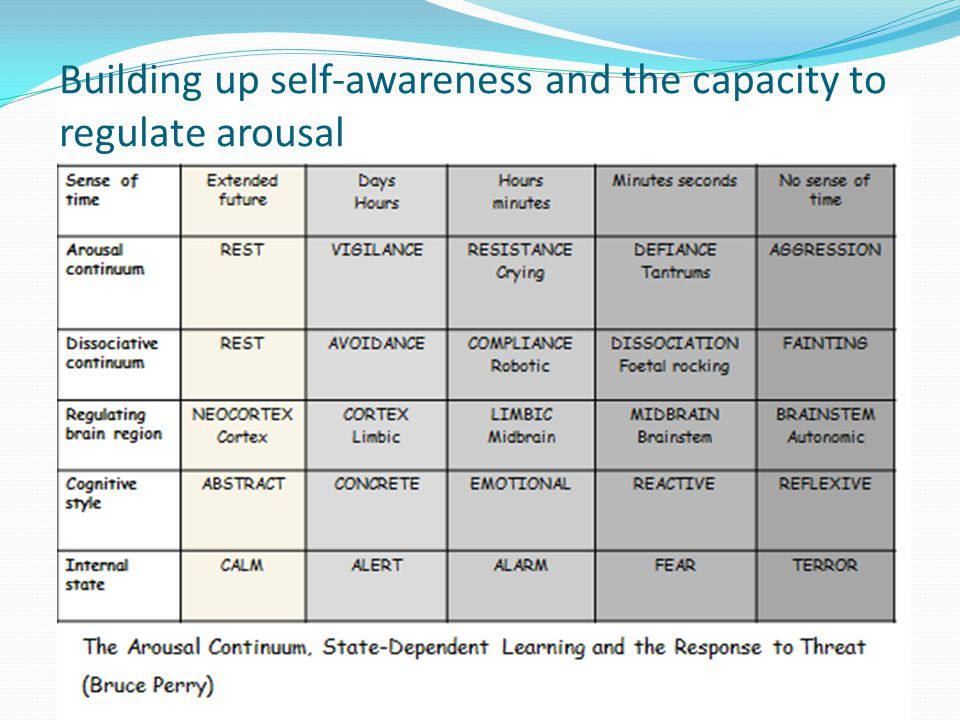 Building up self-awareness and the capacity to regulate arousal