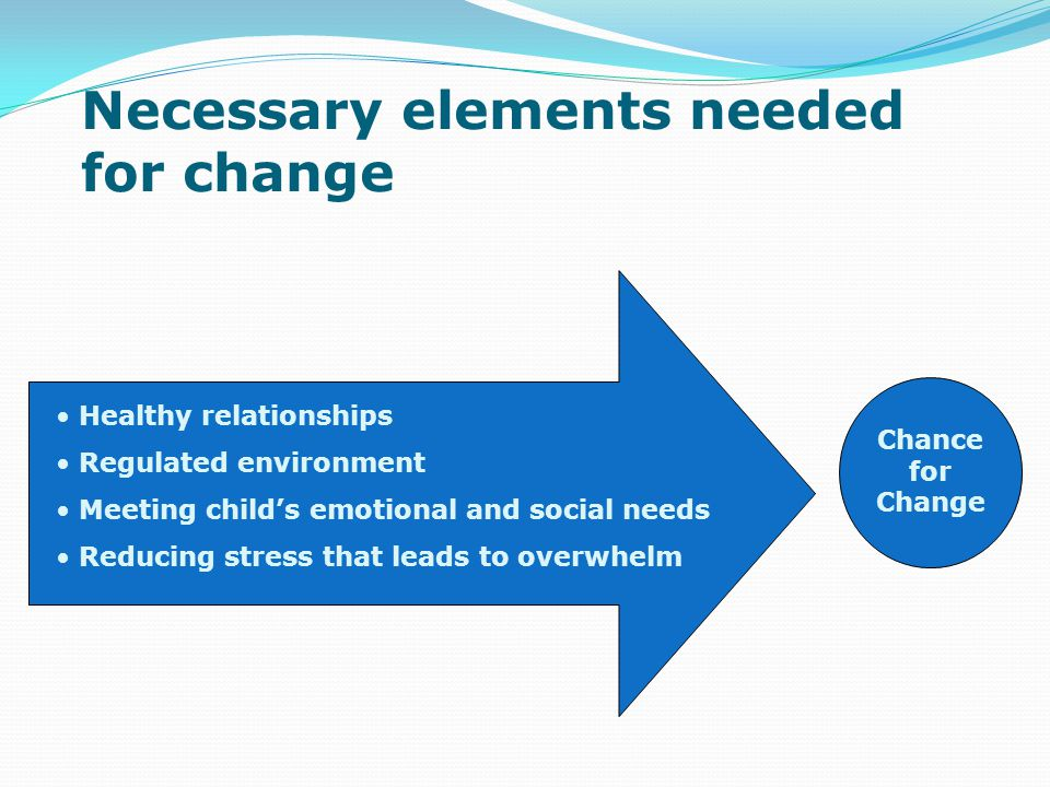 Chance for Change Healthy relationships Regulated environment Meeting child's emotional and social needs Reducing stress that leads to overwhelm Necessary elements needed for change