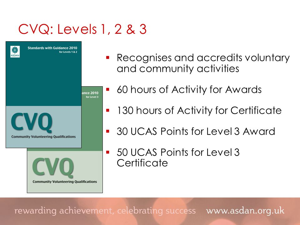 CVQ: Levels 1, 2 & 3  Recognises and accredits voluntary and community activities  60 hours of Activity for Awards  130 hours of Activity for Certificate  30 UCAS Points for Level 3 Award  50 UCAS Points for Level 3 Certificate