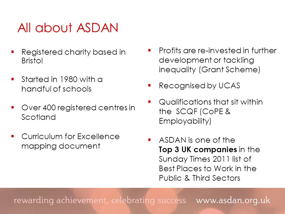  Registered charity based in Bristol  Started in 1980 with a handful of schools  Over 400 registered centres in Scotland  Curriculum for Excellence mapping document  Profits are re-invested in further development or tackling inequality (Grant Scheme)  Recognised by UCAS  Qualifications that sit within the SCQF (CoPE & Employability)  ASDAN is one of the Top 3 UK companies in the Sunday Times 2011 list of Best Places to Work in the Public & Third Sectors All about ASDAN