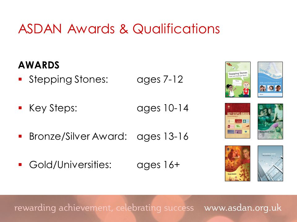 AWARDS  Stepping Stones:ages 7-12  Key Steps:ages 10-14  Bronze/Silver Award:ages 13-16  Gold/Universities:ages 16+ ASDAN Awards & Qualifications