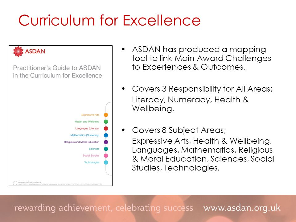 Curriculum for Excellence ASDAN has produced a mapping tool to link Main Award Challenges to Experiences & Outcomes.