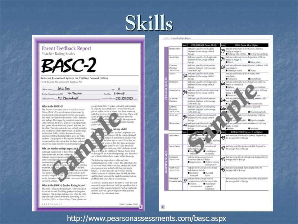 Skills http://www.pearsonassessments.com/basc.aspx