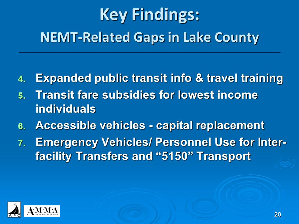 20 Key Findings: NEMT-Related Gaps in Lake County ____________________________________________________________________________________________________