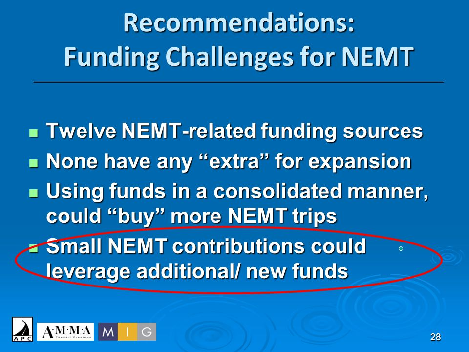 28 Recommendations: Funding Challenges for NEMT ______________________________________________________________________________________________________
