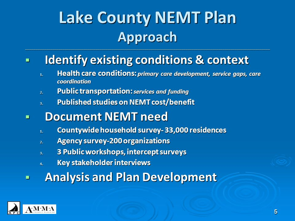5 Lake County NEMT Plan Approach _______________________________________________________________________________________________________________________  Identify existing conditions & context 1.