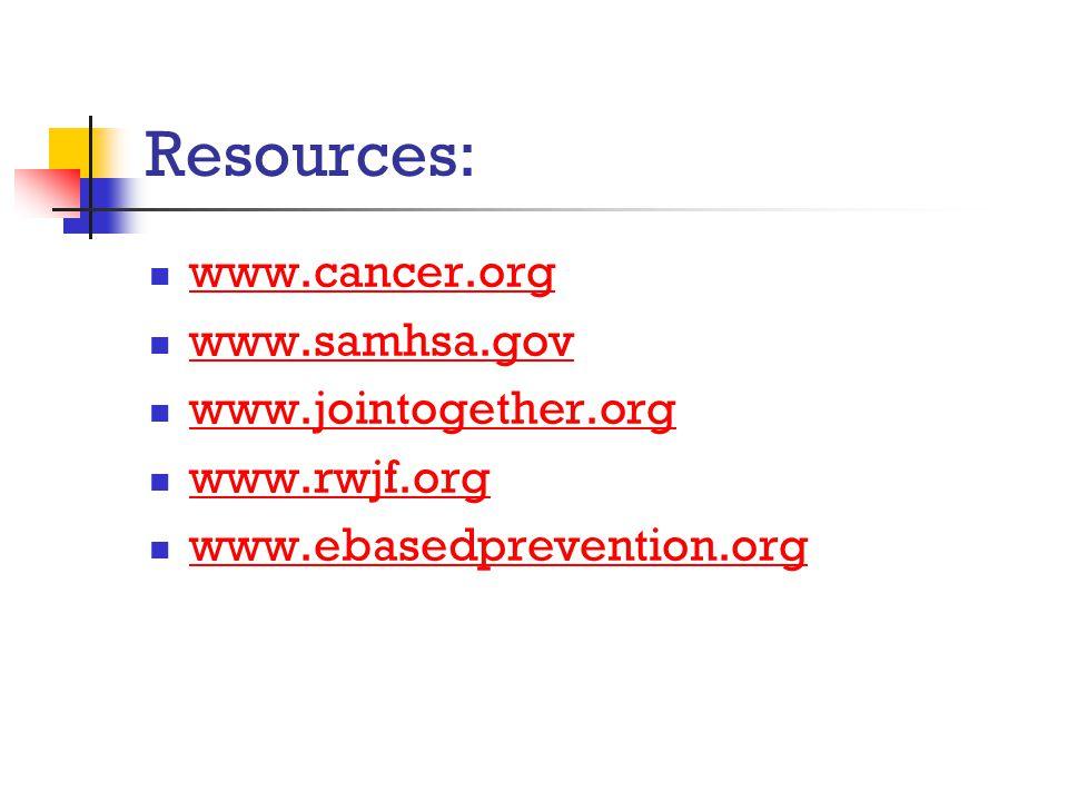 Resources: www.cancer.org www.samhsa.gov www.jointogether.org www.rwjf.org www.ebasedprevention.org