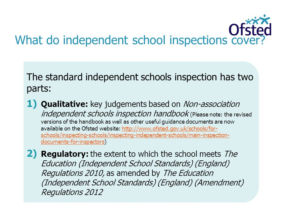 What do independent school inspections cover.