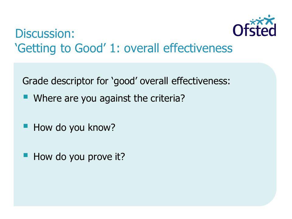 Grade descriptor for 'good' overall effectiveness:  Where are you against the criteria.