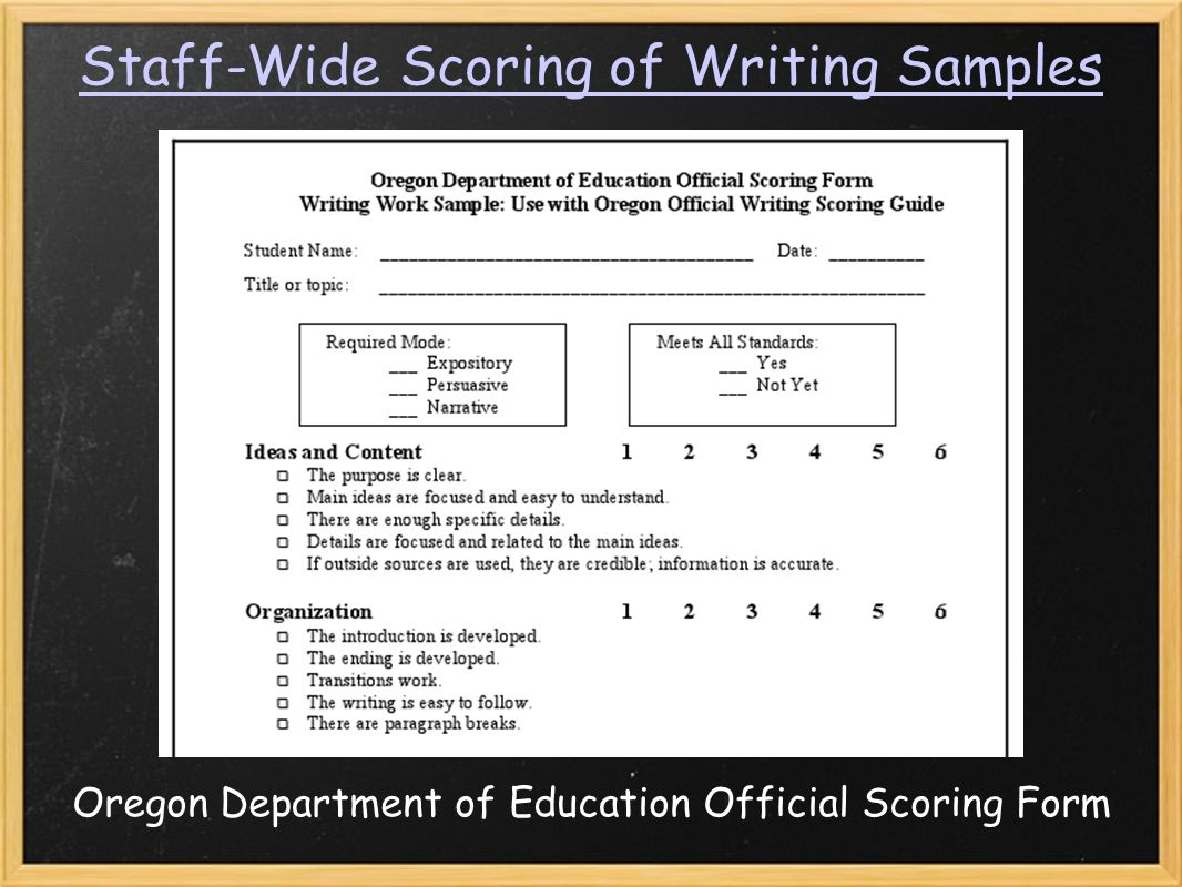 Staff-Wide Scoring of Writing Samples Oregon Department of Education Official Scoring Form