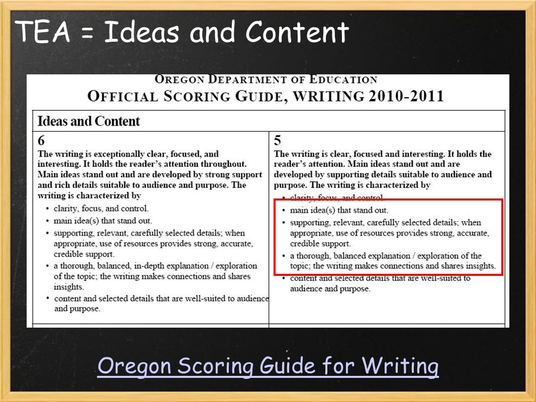 TEA = Ideas and Content Oregon Scoring Guide for Writing