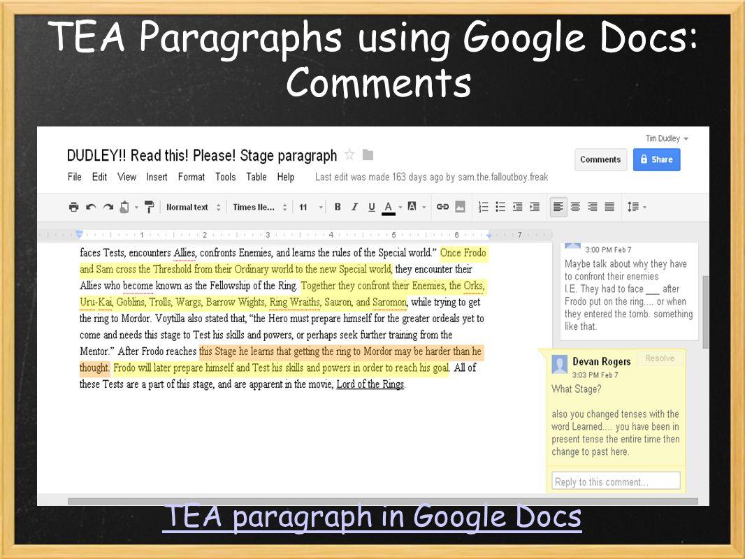 TEA Paragraphs using Google Docs: Comments TEA paragraph in Google Docs