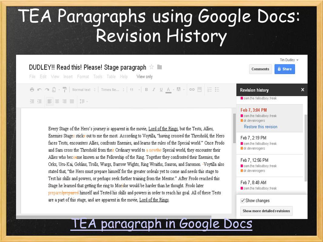 TEA Paragraphs using Google Docs: Revision History TEA paragraph in Google Docs
