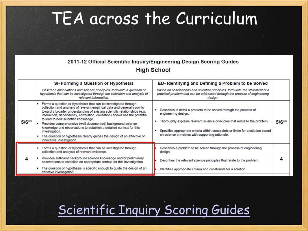 TEA across the Curriculum Scientific Inquiry Scoring Guides