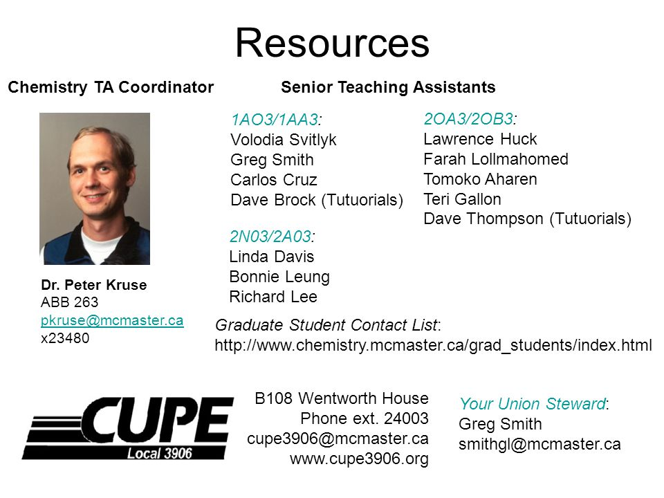 B108 Wentworth House Phone ext.24003 cupe3906@mcmaster.ca www.cupe3906.org Resources Dr.
