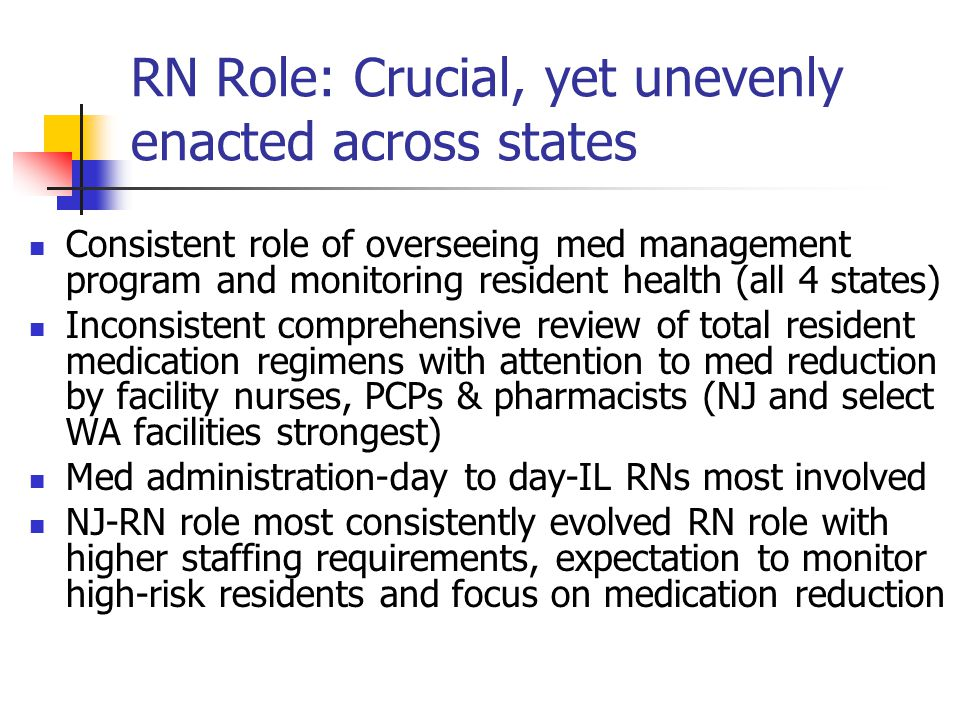 RN Role: Crucial, yet unevenly enacted across states Consistent role of overseeing med management program and monitoring resident health (all 4 states) Inconsistent comprehensive review of total resident medication regimens with attention to med reduction by facility nurses, PCPs & pharmacists (NJ and select WA facilities strongest) Med administration-day to day-IL RNs most involved NJ-RN role most consistently evolved RN role with higher staffing requirements, expectation to monitor high-risk residents and focus on medication reduction