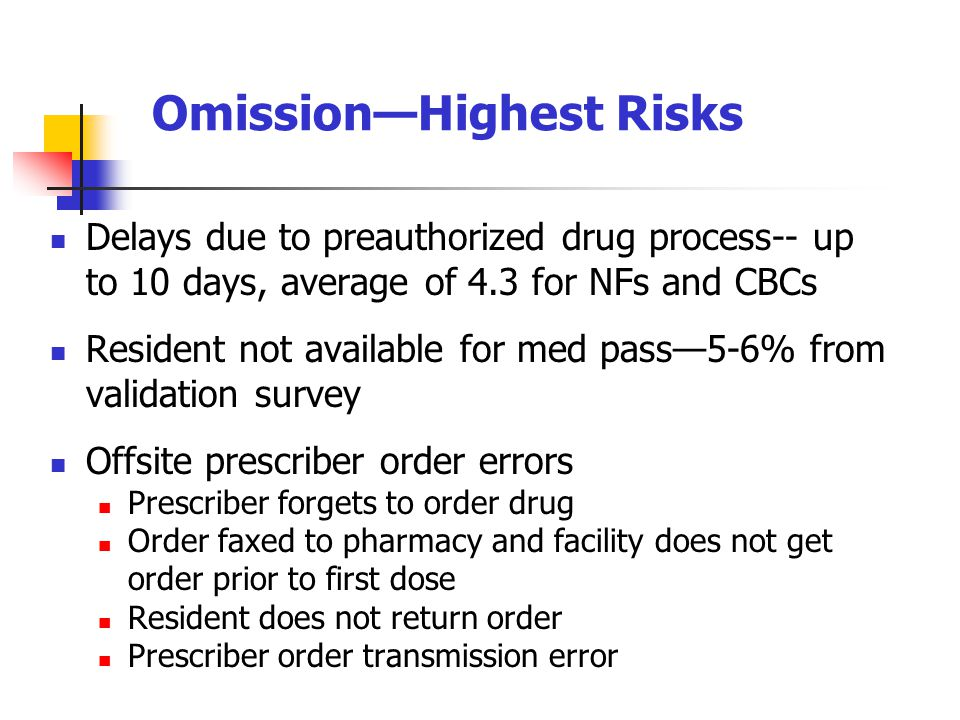 Delays due to preauthorized drug process-- up to 10 days, average of 4.3 for NFs and CBCs Resident not available for med pass—5-6% from validation survey Offsite prescriber order errors Prescriber forgets to order drug Order faxed to pharmacy and facility does not get order prior to first dose Resident does not return order Prescriber order transmission error Omission—Highest Risks