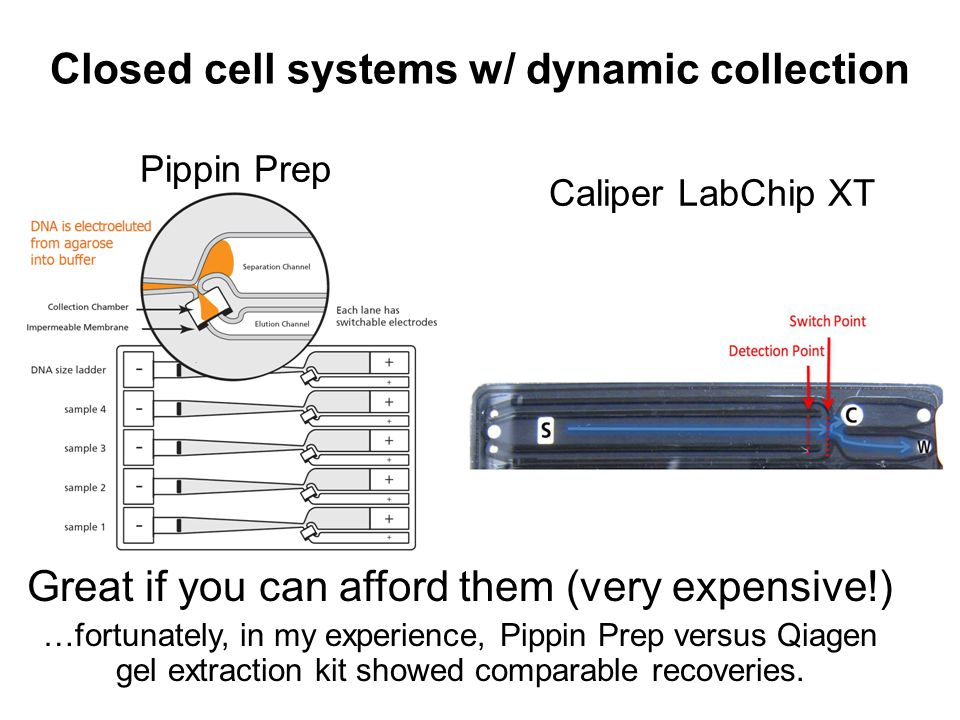 Pippin Prep Closed cell systems w/ dynamic collection Caliper LabChip XT Great if you can afford them (very expensive!) …fortunately, in my experience