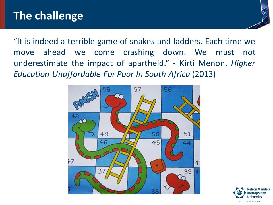 "The challenge ""It is indeed a terrible game of snakes and ladders. Each time we move ahead we come crashing down. We must not underestimate the impact"