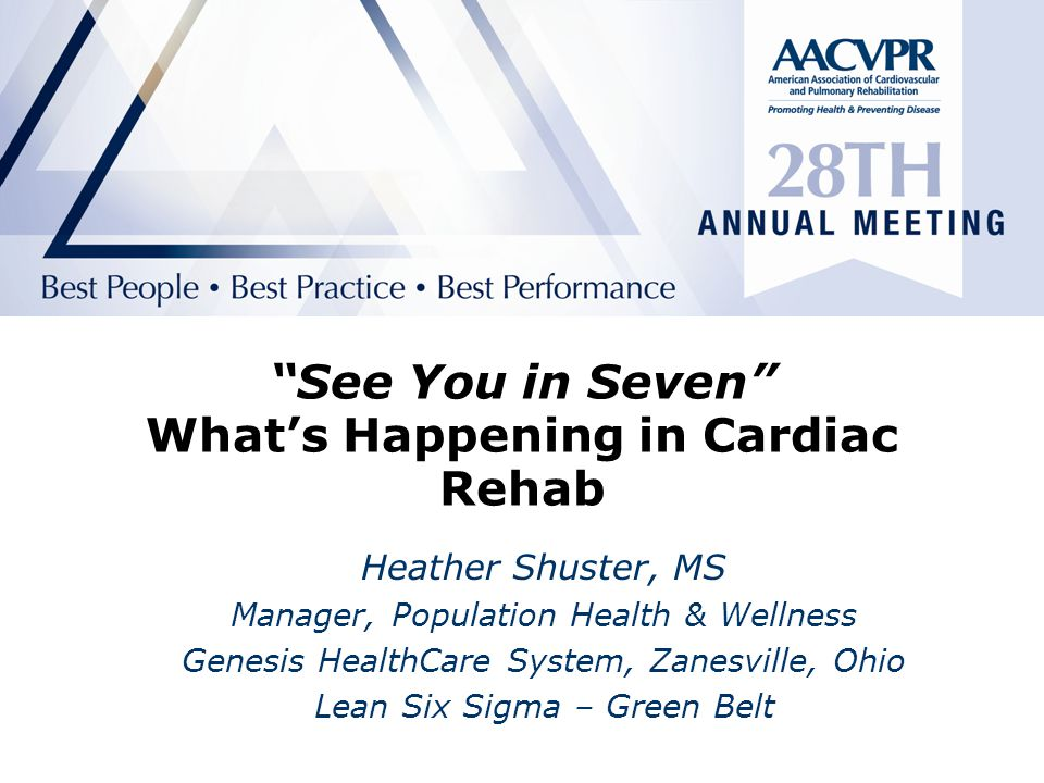 H2H: See You In Seven The follow-up clinic or cardiac rehab appointment is successful if:  Patient arrives at appointment within 7 days of discharge from hospital  Discharge summary (including summary of hospitalization, updated medication list) available to follow-up provider.
