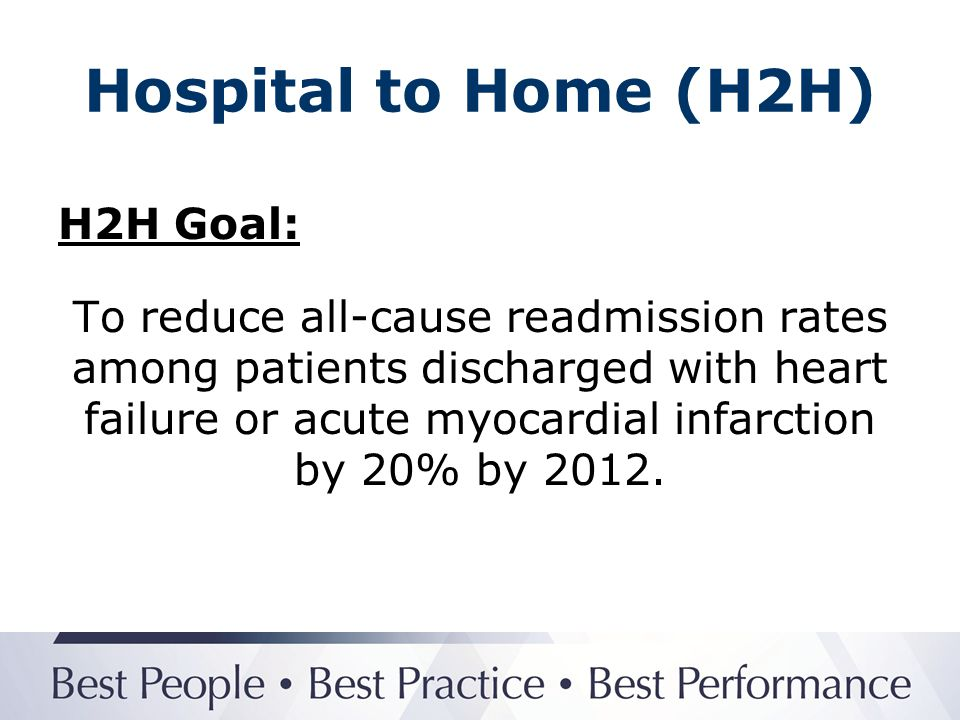 Hospital to Home (H2H) Why choose H2H.