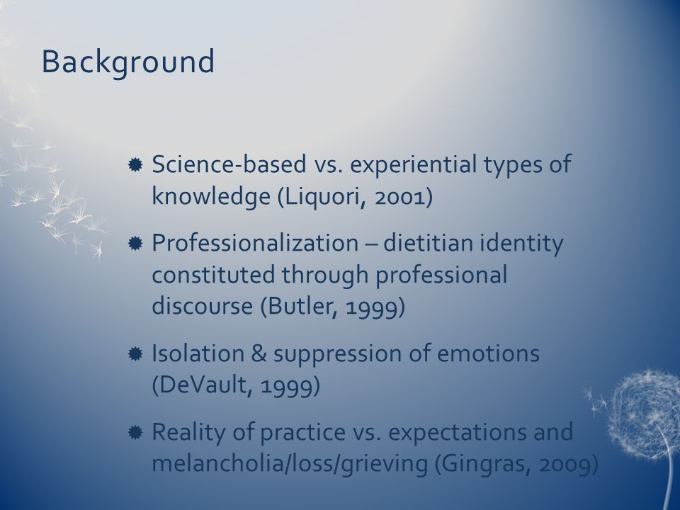 Background  Science-based vs.